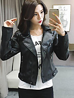 Women's Going out Street chic Fall Leather Jacket,Solid V Neck Long Sleeve Regular Others
