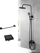 Modern/Comtemporary Special Design Tub And Shower Handshower Included Wall Mount with  Ceramic Valve Two Holes for  Black , Shower Faucet