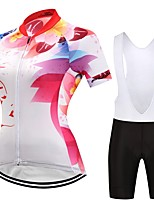 Cycling Jersey with Bib Shorts Women's Short Sleeves Bike Clothing Suits Anatomic Design Geometric Autumn/Fall Summer Cycling/Bike White