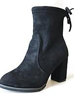 Da donna Scarpe PU (Poliuretano) Autunno Stivali da equitazione Stivaletti Quadrato Punta tonda Fiocco Per Casual Nero Giallo