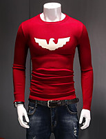 Men's Casual/Daily Regular Pullover,Solid Round Neck Long Sleeves Nylon Winter Thin Micro-elastic