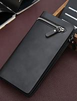 Men Bags All Seasons PU Clutch Zipper for Casual Outdoor Coffee Black