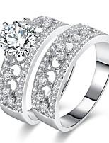 Herrn Damen Bandringe Verlobungsring Kubikzirkonia Zirkon Aleación Geometrische Form Schmuck Für Hochzeit Party Verlobung Zeremonie