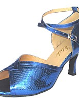 Women's Latin Leatherette Indoor Customized Heel Blue