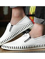 Masculino sapatos Pele Primavera Outono Solados com Luzes Mocassins e Slip-Ons Para Casual Branco Preto Marron