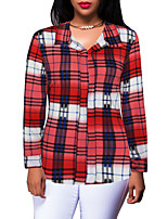 Women's Daily Going out Vintage Street chic Spring Fall T-shirt,Plaid V Neck Long Sleeves Polyester Medium