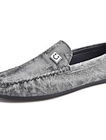 Men's Shoes Real Leather Spring Fall Moccasin Loafers & Slip-Ons For Casual Light Brown Gray