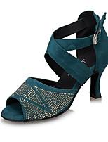 Women's Latin Suede Heel Indoor Crystal Buckle High Heel Black Blue Leopard Customizable