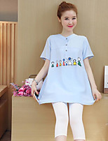 Women's Going out Casual Shirt,Print V Neck Short Sleeves Cotton