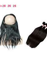 cheap -8A Pre Plucked 360 Lace Frontal With Bundles Straight Peruvian Virgin Hair 3 Bundles With 360 Frontal Band Lace Closure Human Hair