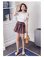 Women's Going out Casual/Daily Simple Summer T-shirt Pant Suits,Solid Striped Round Neck Short Sleeve