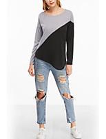 Tee-shirt Femme,Couleur Pleine Vacances Décontracté / Quotidien Chic de Rue Manches Longues Col Arrondi Polyester