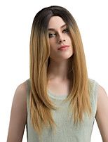 Women Synthetic Wig Capless Long Straight Black/Gold Ombre Hair Dark Roots Middle Part Natural Wigs Costume Wig