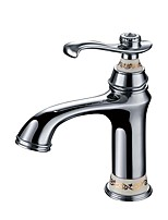 Contemporary Luxury Centerset High Quality with  Ceramic Valve Single Handle One Hole for  Chrome , Bathroom Sink Faucet