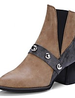 Women's Shoes Leatherette Spring Winter Fashion Boots Boots Chunky Heel Pointed Toe Booties/Ankle Boots Rivet For Casual Office & Career