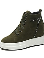 Women's Shoes Cashmere Fall Comfort Sneakers Wedge Heel Round Toe Lace-up For Casual Green Brown Black
