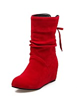 Women's Shoes Leatherette Fall Winter Fashion Boots Boots Wedge Heel Round Toe Booties/Ankle Boots Buckle For Casual Dress Red Beige Black