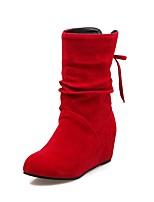 Feminino Sapatos Courino Outono Inverno Botas da Moda Botas Anabela Ponta Redonda Botas Curtas / Ankle Presilha Para Casual Social Preto