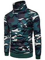 Men's Daily Sports Active Sweatshirt Striped Camouflage Round Neck Micro-elastic Cotton Rayon Long Sleeve Winter Fall