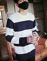 Men's Casual/Daily Regular Cardigan,Striped Round Neck Long Sleeves Cotton Fall Medium Micro-elastic