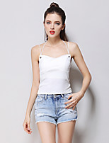Women's Going out Casual/Daily Simple Cute Summer Tank Top,Solid Strap Sleeveless Cotton Thin