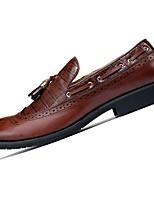 Masculino sapatos Borracha Primavera Outono Conforto Oxfords Para Preto Marron Vinho