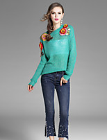 EWUS Women's Going out Casual/Daily Street chic Fall Blouse Pant SuitsFloral Embroidery Round Neck Long Sleeve Stretchy