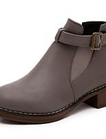 Mujer Zapatos PU Otoño Botas de Combate Botas Tacón Plano Dedo redondo Banda Para Casual Negro Gris Marrón