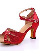 Damen Latin Paillette Absätze Professionell Verschlussschnalle Glitter Kubanischer Absatz Gold Silber Rot Blau