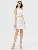 A-Line Jewel Neck Short / Mini Satin Cocktail Party Dress with Crystal Detailing by TS Couture®