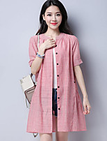 Women's Going out Casual Shirt,Striped Round Neck Short Sleeves Cotton