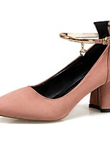 Women's Shoes PU Spring Fall Comfort Heels Block Heel Pointed Toe Buckle For Casual Blushing Pink Black