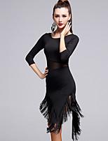Latin Dance Women's Performance Milk Fiber Tassel(s) 3/4 Length Sleeve Natural Dress