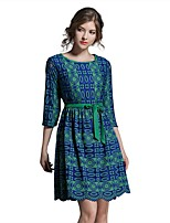Women's Going out Casual/Daily Street chic A Line Sheath Dress,Print Round Neck Knee-length 3/4 Length Sleeves Cotton Polyester Summer