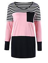 Women's Daily Holiday Street chic Winter Fall T-shirt,Striped Round Neck Long Sleeves Polyester