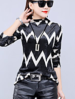 Women's Going out Plus Size Winter Fall T-shirt,Striped Turtleneck Long Sleeves Others Medium
