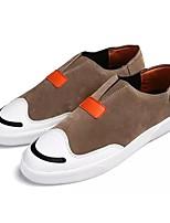 Hombre Zapatos PU Primavera Otoño Suelas con luz Zapatos de taco bajo y Slip-On Banda Para Casual Negro Gris Marrón Claro