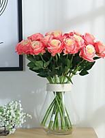 2pcs artificial rose seda flor flor bouquet de noiva para decoração de casamento em casa (rosa)