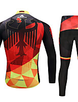 Miloto Cycling Jersey with Tights Men's Bike Clothing Suits Stretchy Autumn/Fall Winter Cycling/Bike Black/Red
