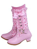 Girls' Shoes PU Fall Winter Comfort Novelty Boots Bowknot Buckle Zipper For Wedding Dress Blushing Pink
