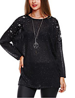 Women's Daily Going out Casual Sexy Summer Fall T-shirt,Solid Round Neck Long Sleeves Polyester Medium