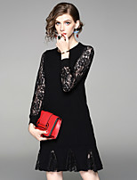 Women's Daily Going out Street chic A Line Dress,Solid Round Neck Knee-length Long Sleeves Wool Polyester Fall Mid Rise Inelastic Medium