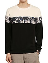 Men's Daily Plus Size Casual Sweatshirt Color Block Round Neck Micro-elastic Polyester Spandex Long Sleeve Winter Fall
