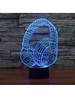 1 Set, Home Bedroom Acrylic 3D Night Light LED Lamp USB Mood Lamp, Available Battery, Colorful, 3W, Headphone