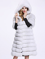 BF-Fur Style Women's Casual/Daily Sophisticated Fall Winter Fur Coat,Solid Hooded Half Sleeves Long Fox Fur