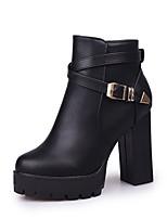 Femme Chaussures Similicuir Automne Hiver Confort Bottes à la Mode Bottes Gros Talon Bout pointu Boucle Fermeture Pour Décontracté Habillé