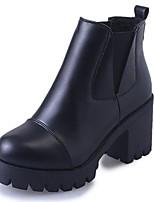 Mujer Zapatos PU Otoño Invierno Botas de Combate Botas Talón de bloque Dedo redondo Botines/Hasta el Tobillo Para Casual Negro