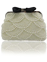Women Bags All Seasons ABS+PC Evening Bag Beading Bow(s) Pearl Detailing Pockets for Event/Party Outdoor Beige