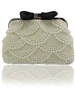 Damen Taschen Ganzjährig ABS + PC Abendtasche Perlenstickerei Schleife(n) Perlen Verzierung Taschen für Veranstaltung / Fest Beige