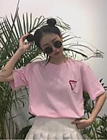Women's Daily Cute T-shirt,Animal Print Round Neck Short Sleeves Cotton
